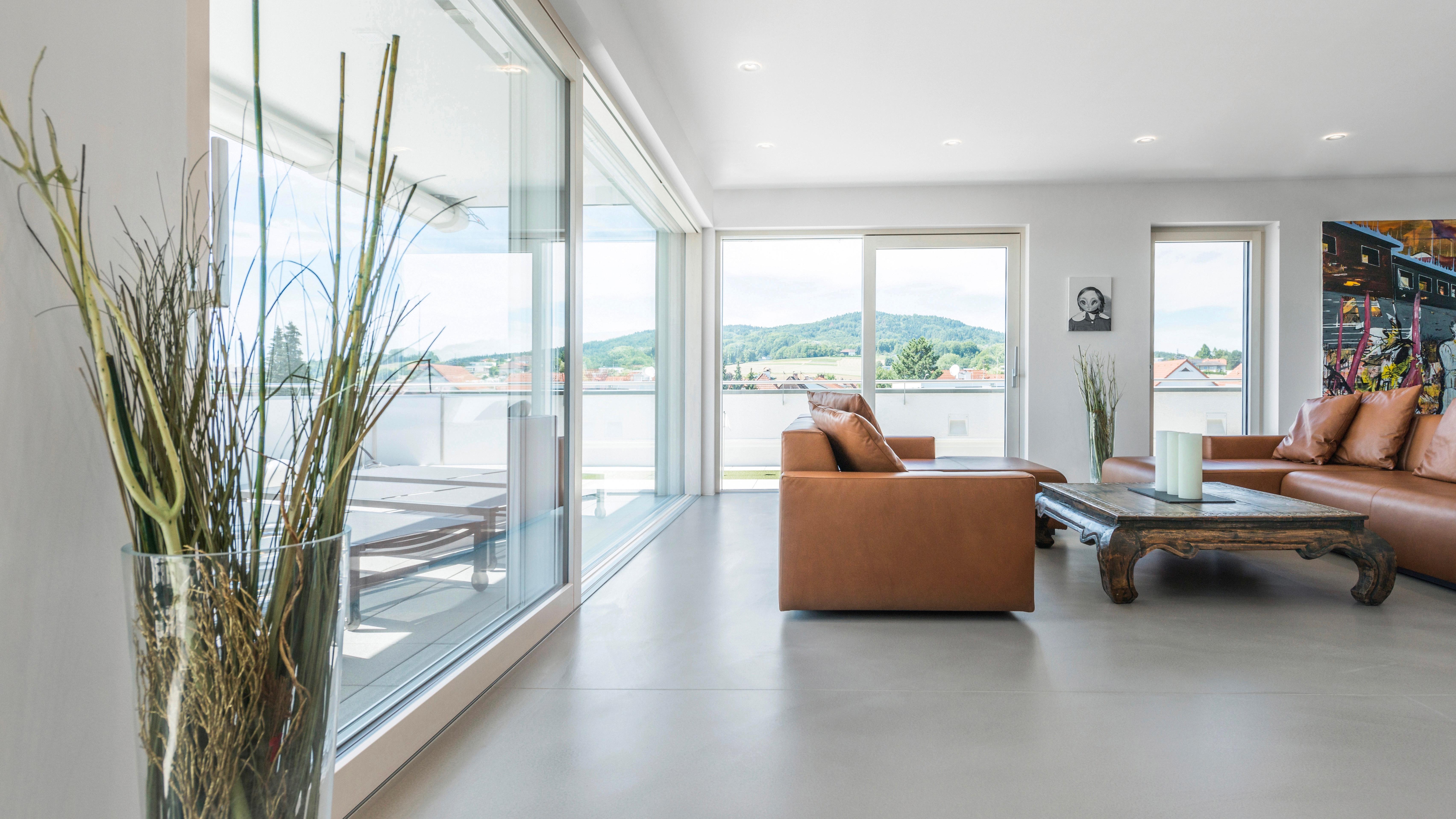 helles Wohnzimmer mit brauner Ledercouch